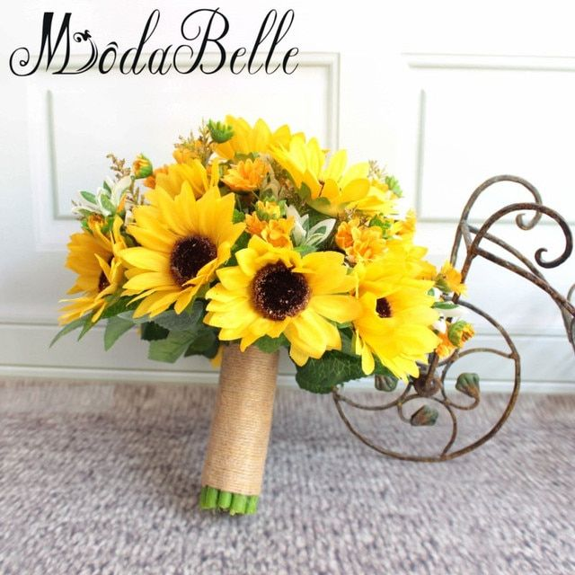 modabelle Artificial Sunflower Yellow Wedding Bouquets For Brides Wedding Flowers Bridal Bouquets Ramos De Novia Artificial