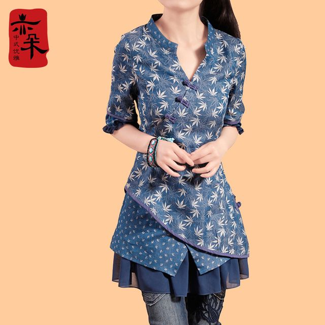 Free Shipping 2016 New Fashion National Trend Female One-piece Dress Plus Size Chinese Style Cotton And Linen Half Sleeve Dress