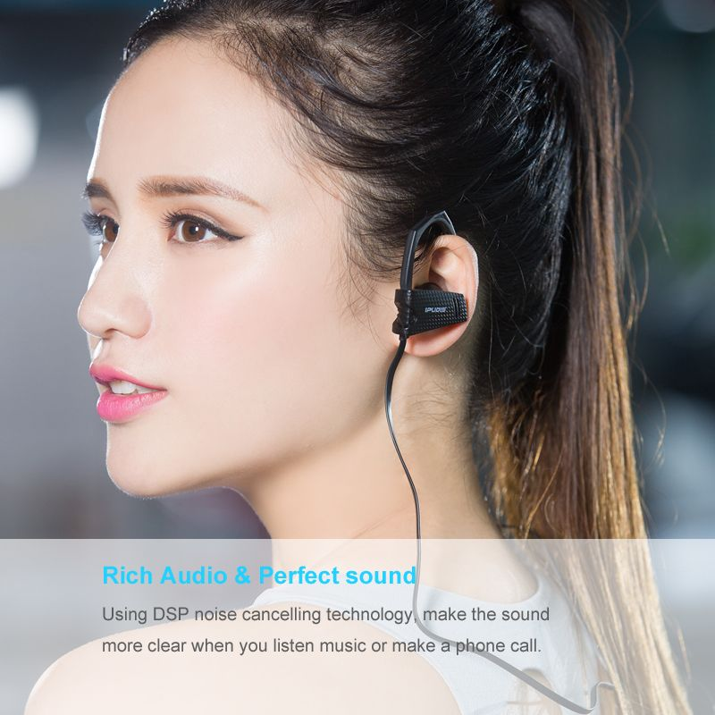 IPUDIS Bluetooth Earphone IP67 Waterproof Headset with Ear hook Wireless Earphone Headphone with Microphone