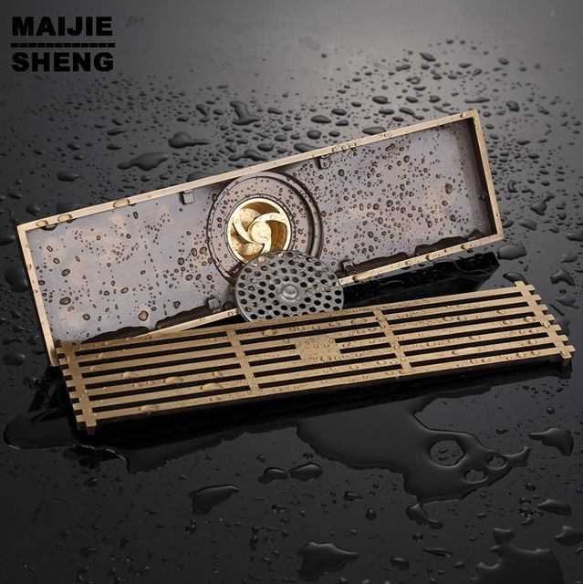Drain Art Carved Cover Waste Drainer Ancient bathroom floor shower room drains 20cm*8/30cm*8 Brass Deodorant Shower floor