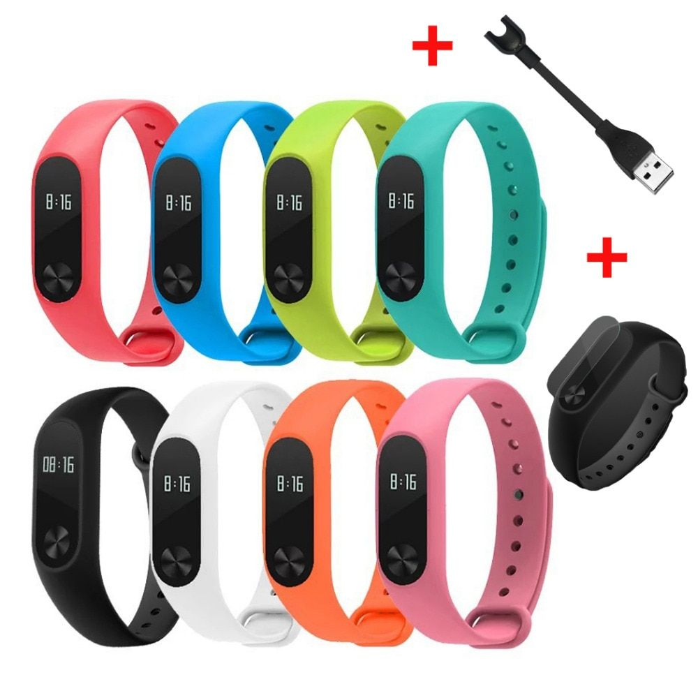 1 Set For Mi Band 2 Strap+Charger+Screen Protector for Xiaomi Mi Band 2 Silicone Bracelet for Xiaomi Band 2 Smart Accessories