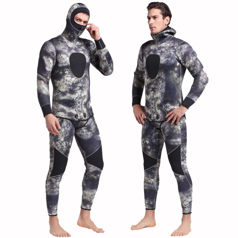 SBART Underwater Thick Warm Men Hooded 3mm Neoprene Spearfishing Wetsuit Two Pieces Diving Suits Surfing Sailing Camo Wetsuits I