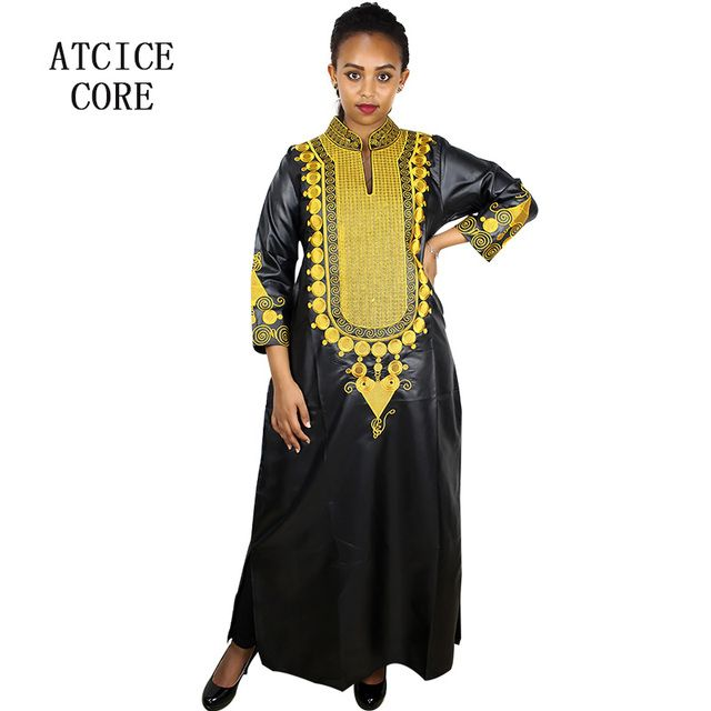 African bazin embroidery dresses long dress without  scarf soft material
