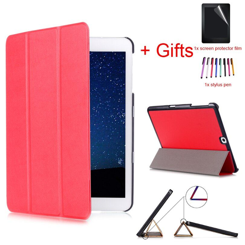 "Magnetic Case for Samsung Galaxy TAB S2 T810 T813 T815C T819C 9.7"" Tablet,Protective Stand PU Leather Cover Case +Film+Pen"
