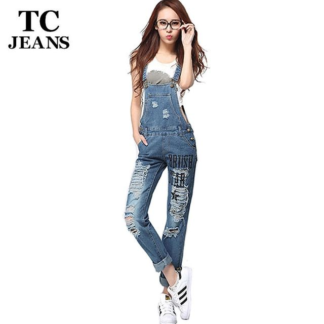 TC 2016 New Womens Summer Casual Straight Ripped Distressed Print Hole Bleached Denim Jeans Jumpsuits Monos Vaqueros WT00545