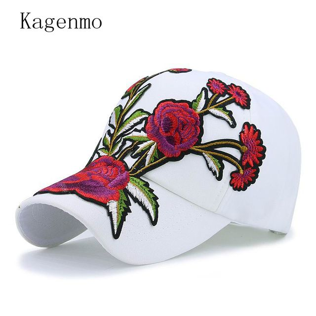 Kagenmo spring and summer flowers embroidery baseball cap sport golf run riding female hat caps fashion outdoor leisure visor