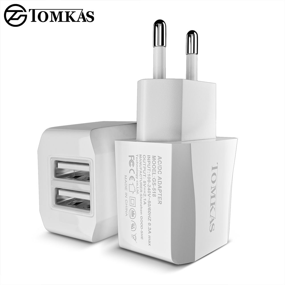 TOMKAS 5V 2A Wall Travel Fast Charger Portable Adapter EU Plug with Micro USB Cable for iPhone iOS Samsung Android Smart Phones