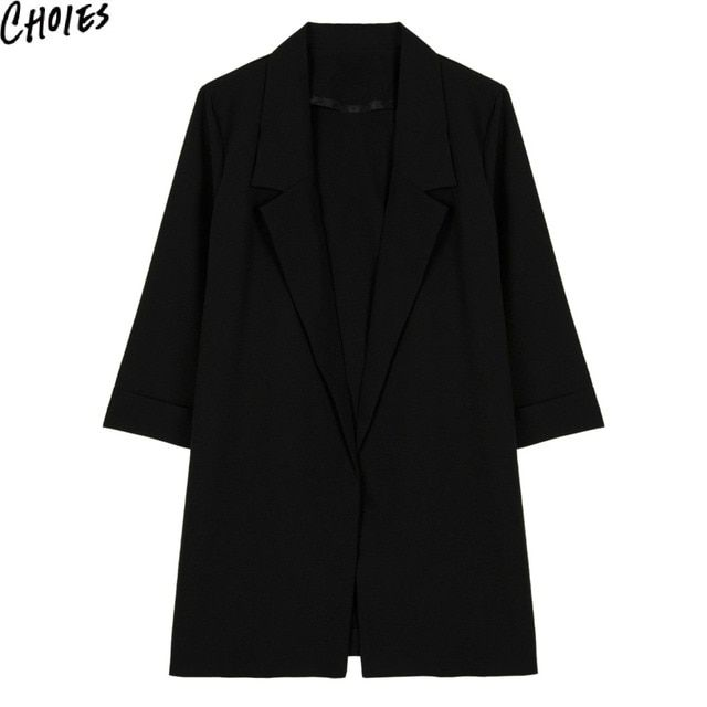 Women Black 3/4 Sleeve Lapel Brief Slim Open Front Casual Longline Blazer 2016 Fashion New Elegant Plain Plus Size Clothing