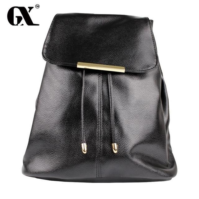 GX Black Double Handle Medium Buckle Drawstring PU Backpacks New Fashion Hot Sale Womens Brand Casual Bags