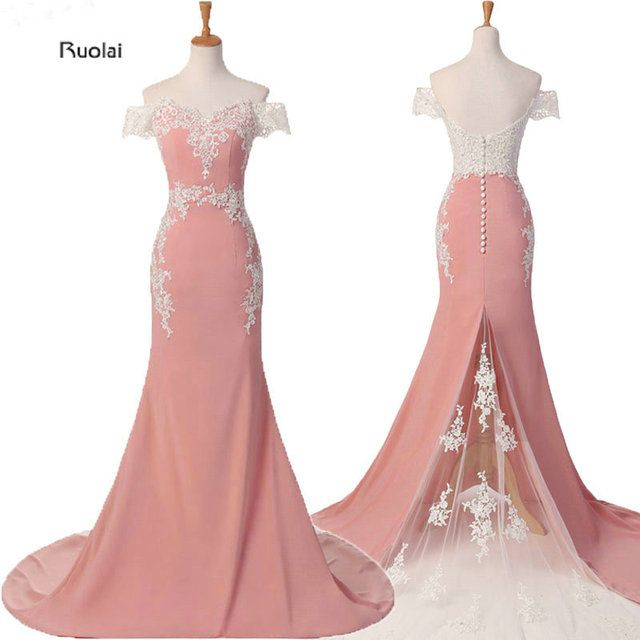 Mermaid Bridesmaid Dresses Long 2018 Pink Lace Appliques Off the Shoulder Formal Dresses Vestido De Festa Maid Of Honor Dress