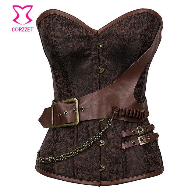 Brown Vintage Steampunk Overbust Corset Corselet Steel Boned Burlesque Waist Trainer Corsets Plus Size Women Gothic Clothing
