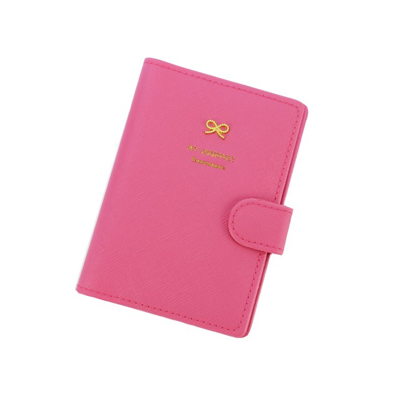 PU Leather Cover on the Passport for Women Bow Candy Hasp New Fashion Travel Passport Holder Wallet Case ID Credit Card Holder