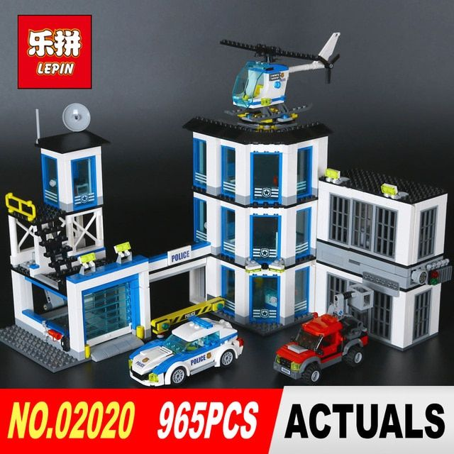 Lepin 02020 965Pcs City Series The New Police Station Set Children Educational Building Blocks Bricks Boy Toys Model Gift 6014
