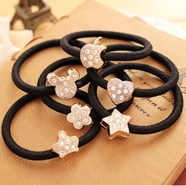 5 piece/lot Multi- Shape Flower Crown Shaped Black Elastic Hair Bands Rope Gum Rubber Hair Accessories for Girl Women