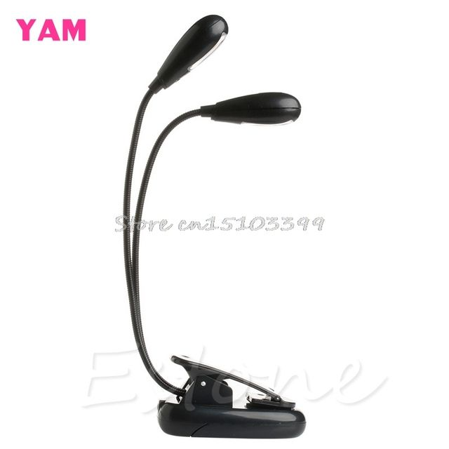 2 Dual Flexible Arms 4 LED Clip-on Light Lamp for Piano Music Stand Book EA G08 Drop ship