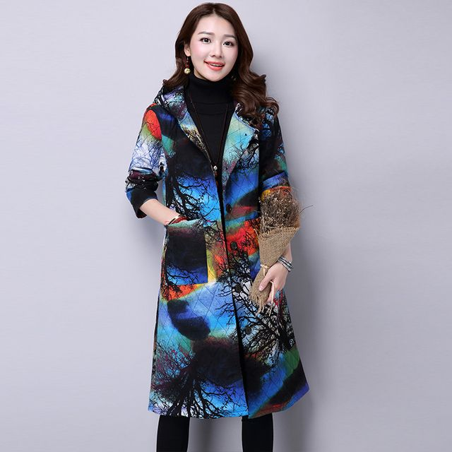2016 New Fashion Winter Warm Coats Women Hooded Floral Print Vintage Parka Female Long Sleeve Cotton Padded Winter Jackets