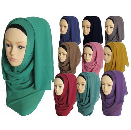 Muslim hijab islamic women shawl fashion solid color chiffon muslim long scarf hijab islamic shawls 180*60cm WL3572