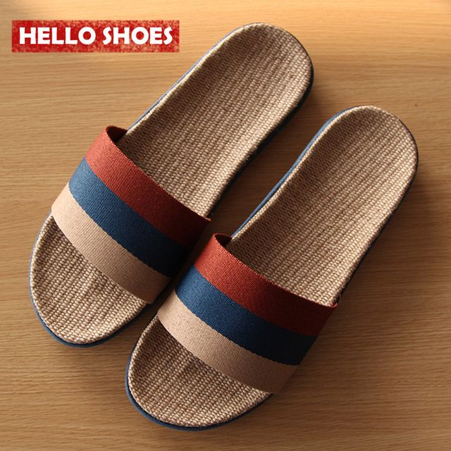 Men Women Home Slippers Flax Slippers Shoes Summer EVA Couple Shoes Striped Pattern House Shoes High Quality Shoes