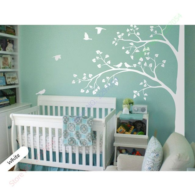 2017 New White tree wall decal corner tree wall decals nursery sticker decor mural 235X200CM