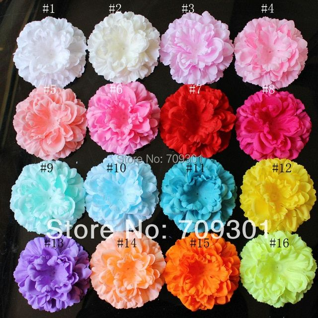 "4"" Peony Flower 17 Colors U Pick 50pcs kids hair accessories flower accessories flat back (not finished) free shipping"