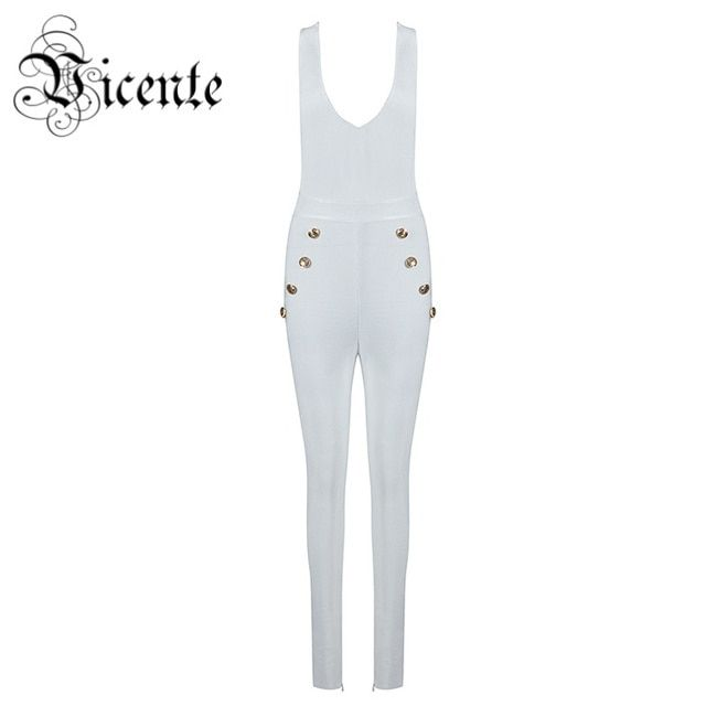 Free Shipping 2017 HOT Chic Inspired Deep Vneck Button Embellished Women Celebrity Party Bodysuit Wholesale Bandage Jumpsuit