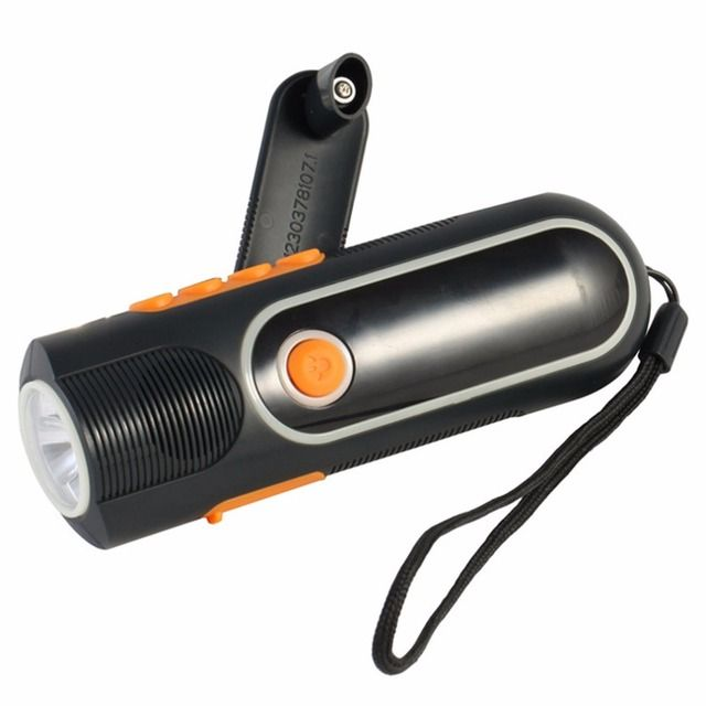 YHX YHX 2016 NEW arrival  Rechargeable Hand  crank LED Outdoor Flashlight Torch Charger Dynamo AM/FM Radio