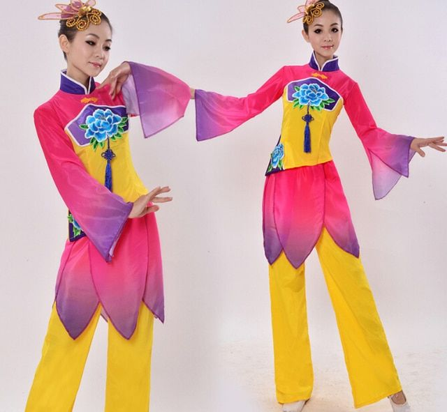Drum Yangko Dance Clothes Fan Dance Costume Women's Classical Ballroom Performance Wear Chinese Folk Dance