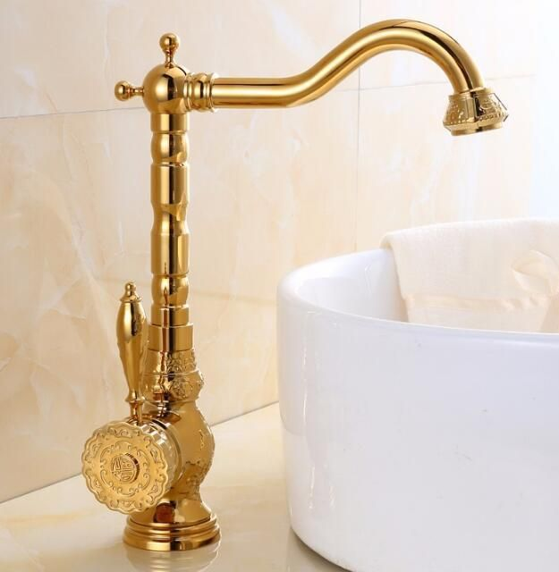 Free Shipping Europe style total brass gold kitchen faucet swivel kitchen sink mixer tap, luxury wash basin faucet carved