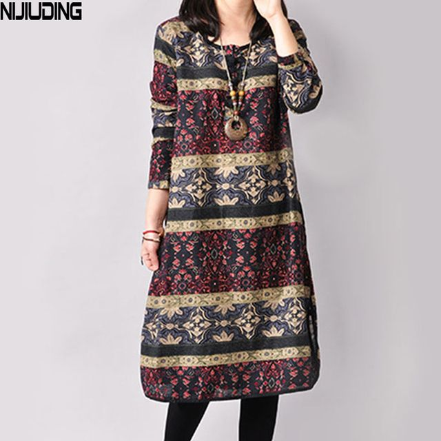NIJIUDING Autumn and Winter Vintage Plus Size Long Sleeve Printed Ethnic Loose Cotton 3 Colors Linen Women Dress M-XXL size