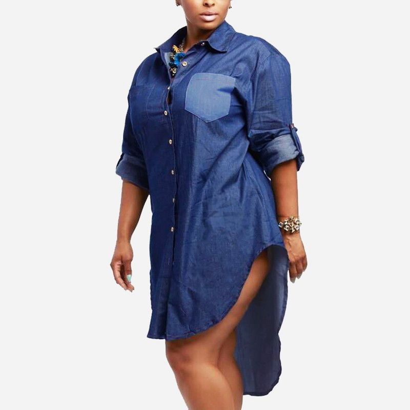 ZANZEA Women Denim Dress 2019 Autumn Vintage Lapel Long Sleeve Irregular Hem Long Jeans Blouse Shirt Oversized Dresses Plus Size
