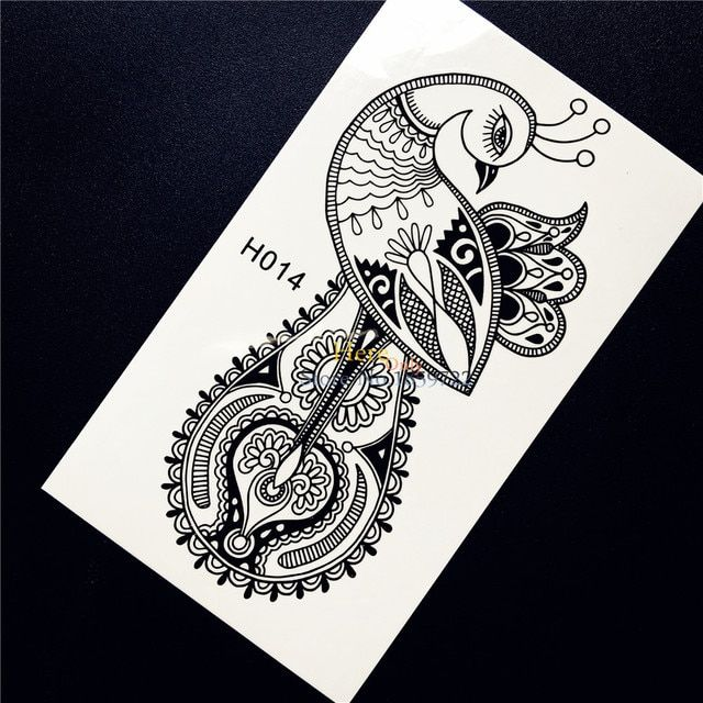 Black Ink Henna Peacock Phoenix Temporary Tattoo Stickers Waterproof Shoulder Decals For Women Body Arm Art Tattoo Stickers HH14