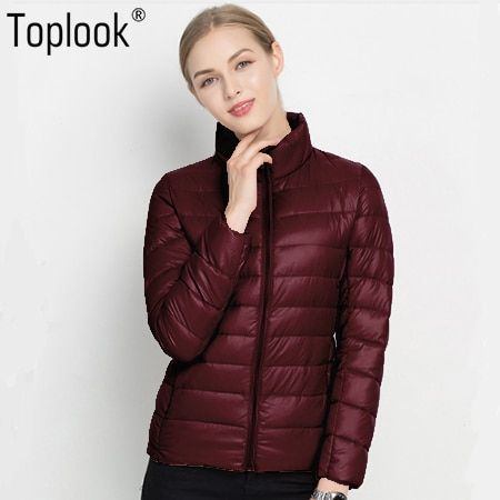 Toplook Light Down Jackets Women's 2017 New Winter Solid Warm Long Sleeve Coats Chic Parkas High-Quality Fitness Down Jackets