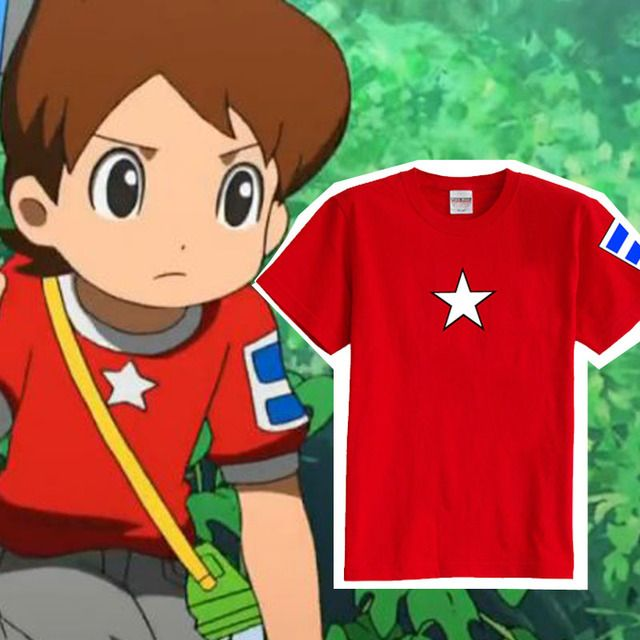 Free shipping 5color Yo kai Watch Keita Amano Nate Cosplay Red Short Sleeve T-shirt FOR KIDS