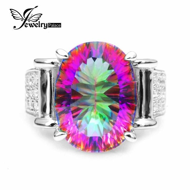 JewelryPalace 9.9ct Rainbow Fire Mystic Topazs Ring For Women Pure 925 Sterling Silver Fashion Jewelry For Women Luxury Gift