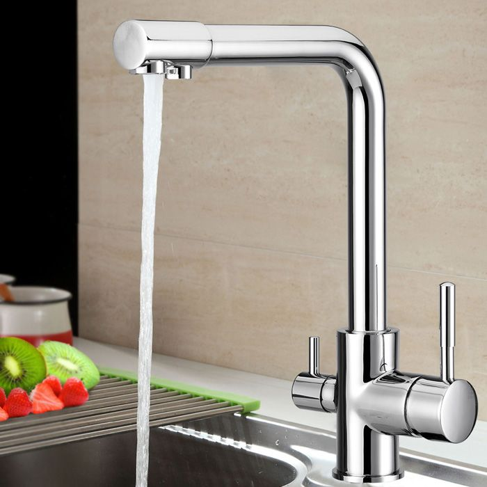 New Dual Handle Chrome Plated solid brass Water Filter 3 Way Ro Kitchen Faucet Pure water tap