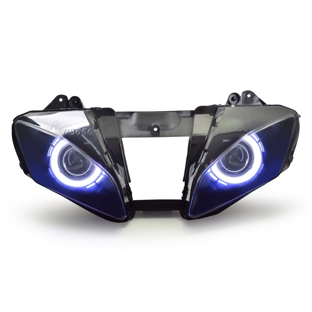 KT Headlight for Yamaha YZF R6 2006-2007 LED Dual Angel Eye Motorcycle HID Projector Assembly