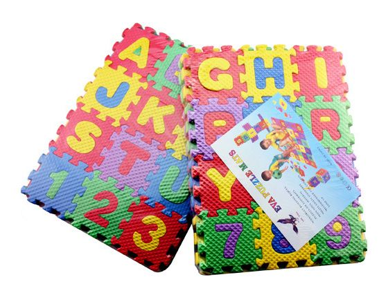 EVA foam puzzle mats digital learning English letters educational toys 36 pieces(26 pieces letters+10 pieces digitals)
