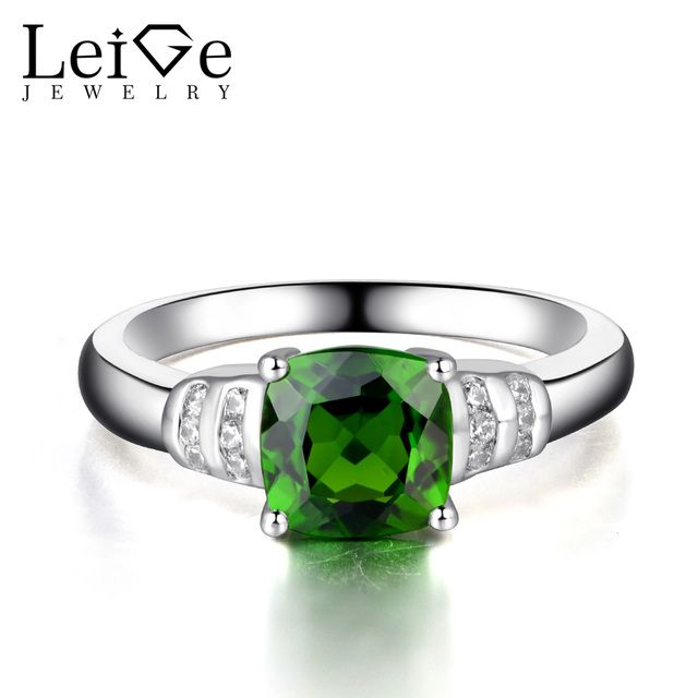 Leige Jewelry Chrome Diopside Rings 925 Sterling Silver Fine Jewelry Green Gemstone Engagement Promise Rings for Women Cushion