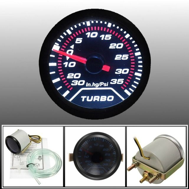 "2"" 52mm Turbo Boost Gauge PSI Smoke Dial Face White LED Light Interior Dash"