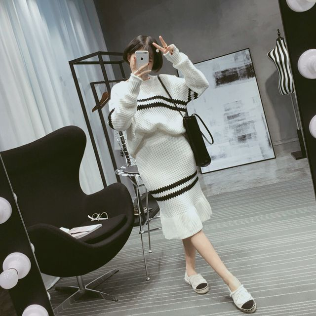 Women Autumn Matching Knitting Sweater + Package Hip Fishtail Skirt Suits Female Two Pieces Clothing Sets Black White Wool