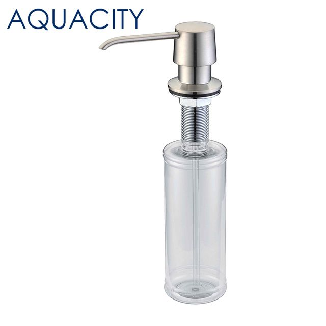 AQUACITY Brass Kitchen Sink Liquid Soap Dispenser Brushed Nickel