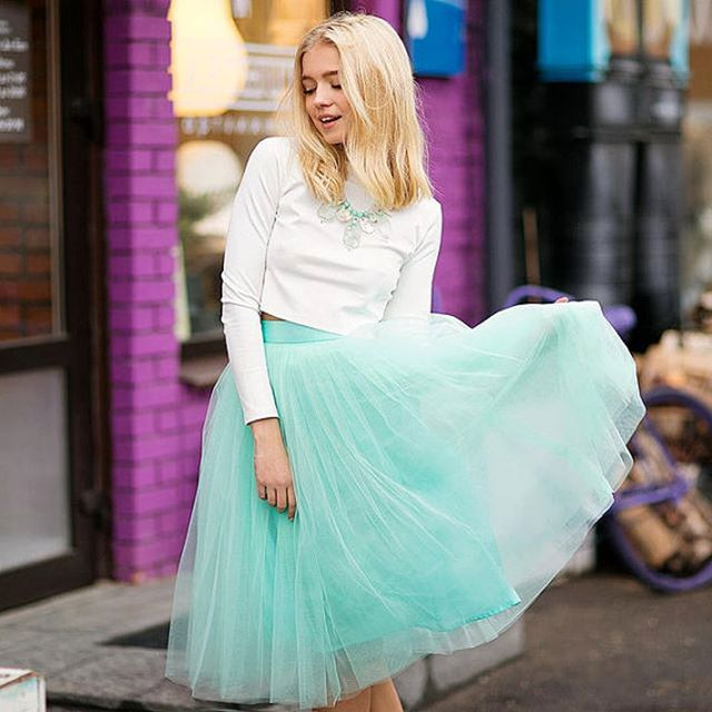 Fresh Mint Tulle Skirts Women Spring Knee Length Zipper Style Lolita Style Tutu Skirt 2017 Summer Style A-line Handmade Skirt