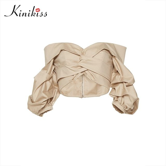 Kinikiss female blouse khaki off shoulder sexy lantern sleeve shirt spring 2017 solid summer women tops fashion girls blouse