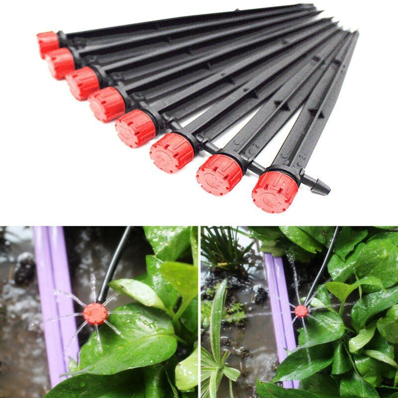 100PCS Adjustable Water 8 Hole Dripper Fruit Free Sprinkler For 4/7mm Microtube Dripper On Stake Garden Irrigation