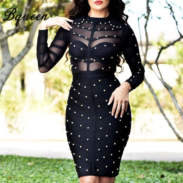 Bqueen 2017 Women Long Sleeve Studded Bandage Dress Knee Length Sexy Club Mesh Bodycon Party Dresses Wholesale