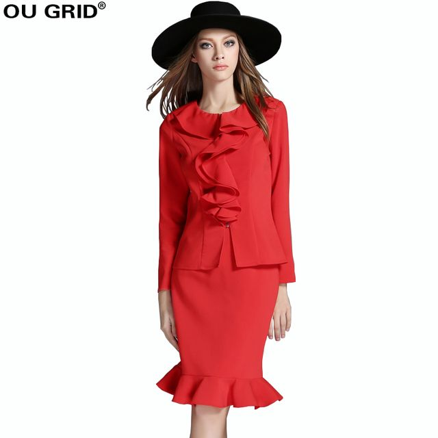 Spring Dress Women Suits with Skirts Runway Style blouse+Ruffles Hem Skirt Set Red Plus Size Lady Wear to Work 2 pieces Set