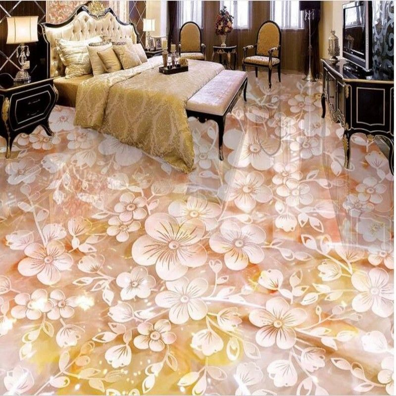 beibehang Custom flooring three-dimensional plum jade carving 3D floor tiles tile painting to paint pvc thick wear-resistant