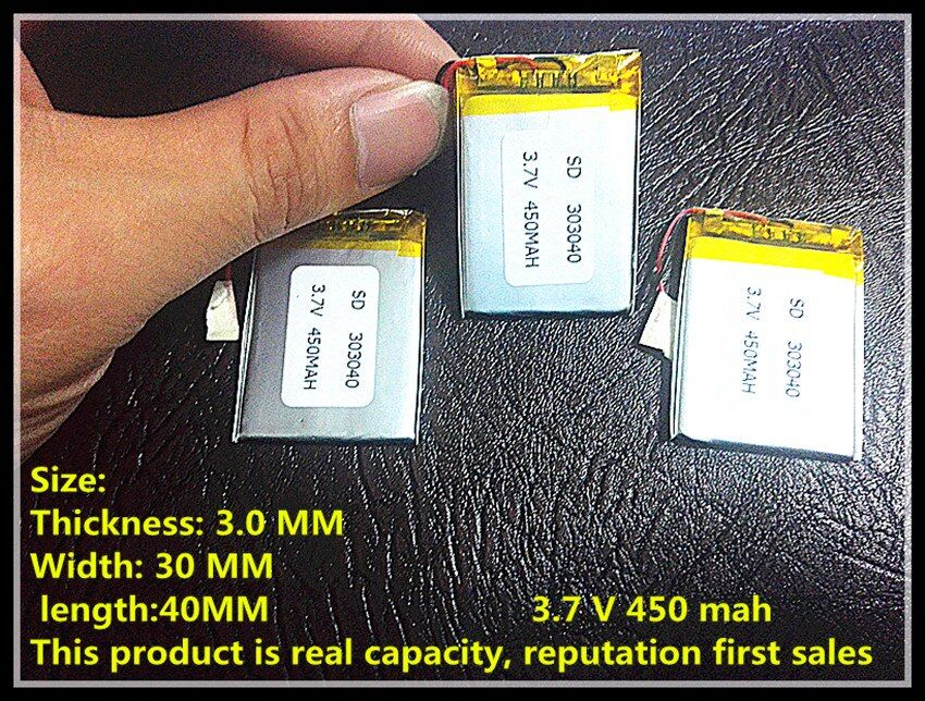 3.7 v 450 mah polymer li-ion battery rechargeable battery 303040 MP3/4/5 bluetooth monitor walkie-talkie batteries
