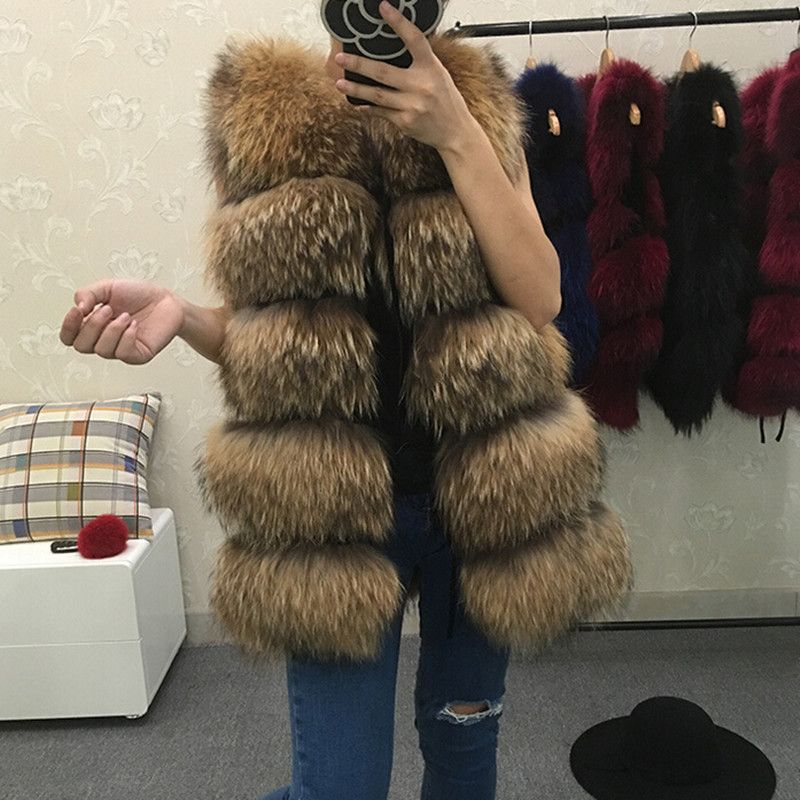 REROYFU Best Real Natural Fur Vest Women's Genuine Raccoon Fur Leather Jacket Overcoat Girl's Fur Vest Coat