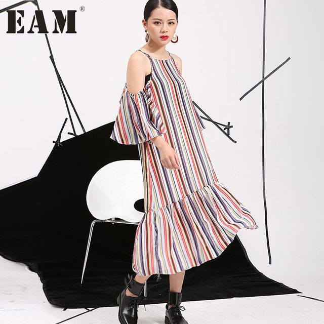 [EAM] 2017summer new Korean temperament loose short-sleeved striped strapless flounced harness colorful dress women tide AS11699